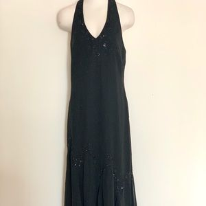 Black Halter Beaded Long Evening Gown - Size 12